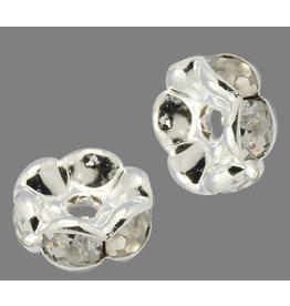 Rhinestone Rondelle Wavy Band 7mm Silver/Clear x50 Grade A
