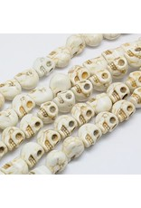 Beige Skull Synthetic Turquoise 12x10mm Strand