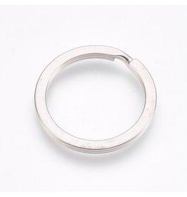 Key Ring 25mm Round Nickel x10