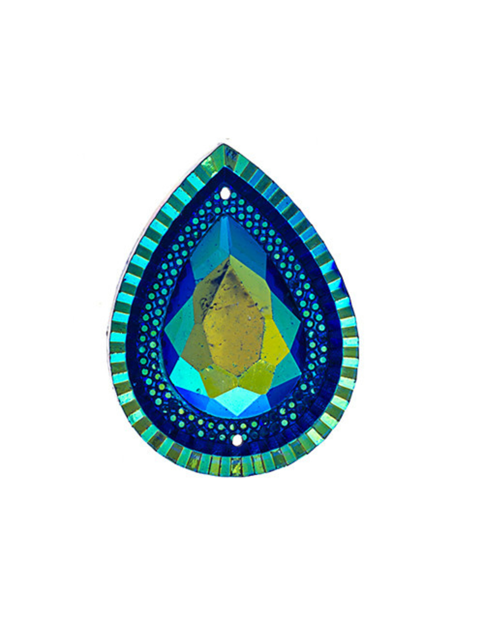 Drop Resin Cabochon 20x30mm Blue AB  x5