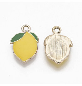 Lemon Charm 20x14mm Lemon Yellow Gold x10