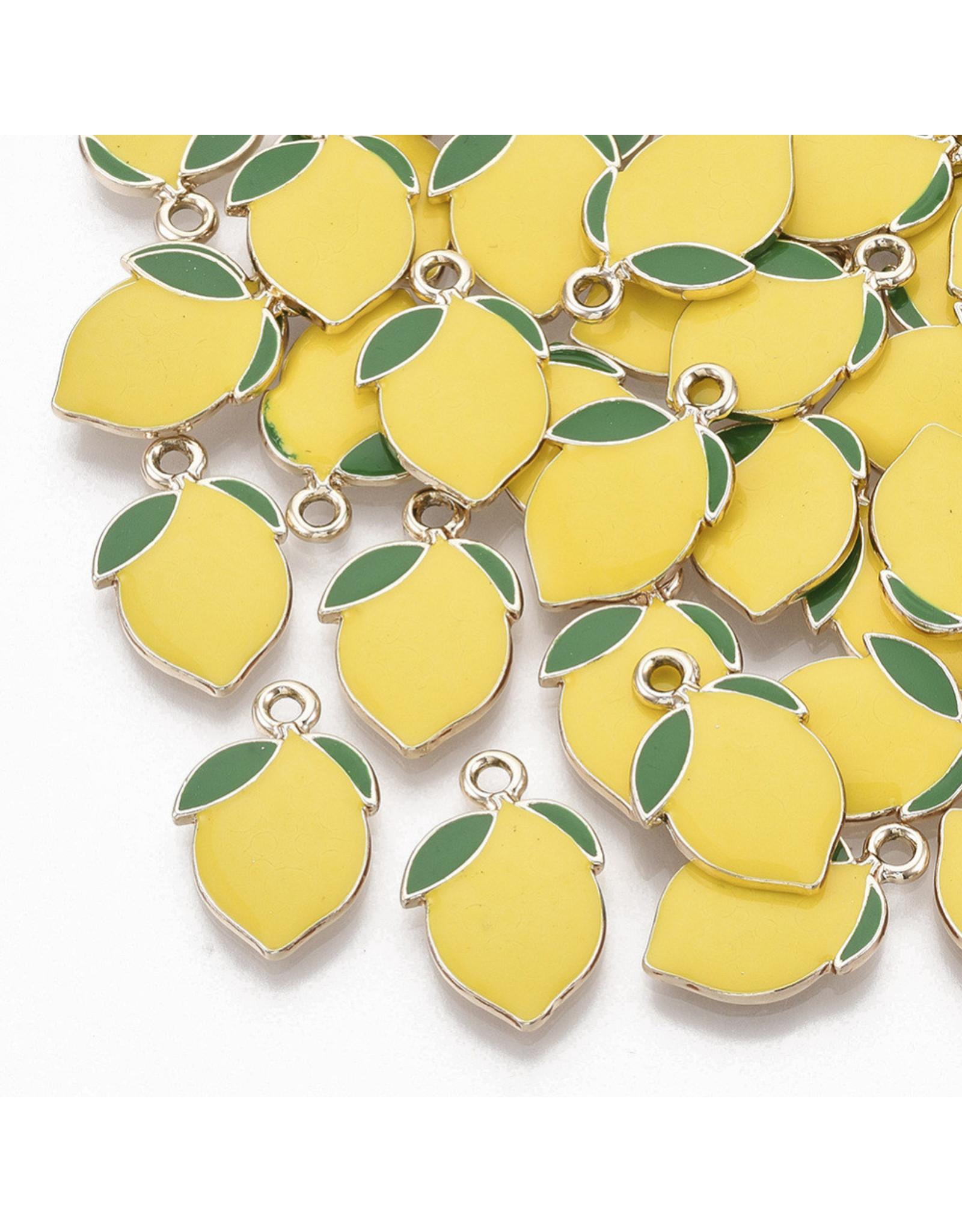 Lemon Charm 20x14mm Lemon Yellow Gold x10