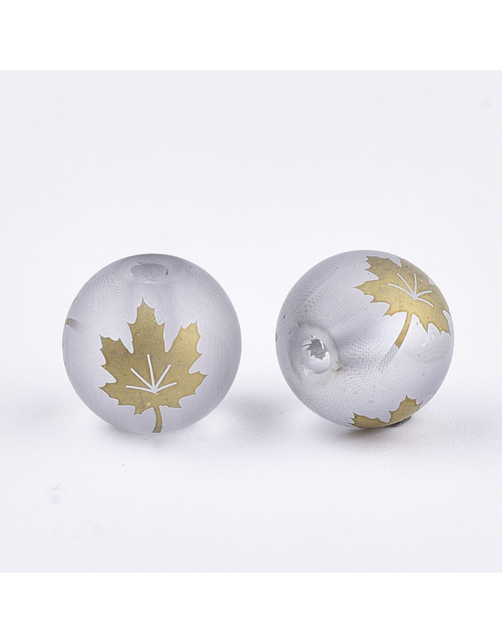 Round 8mm Grey Matte with Gold Maple Leaf x10