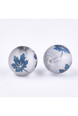Round 8mm Clear Matte with Blue Maple Leaf x10