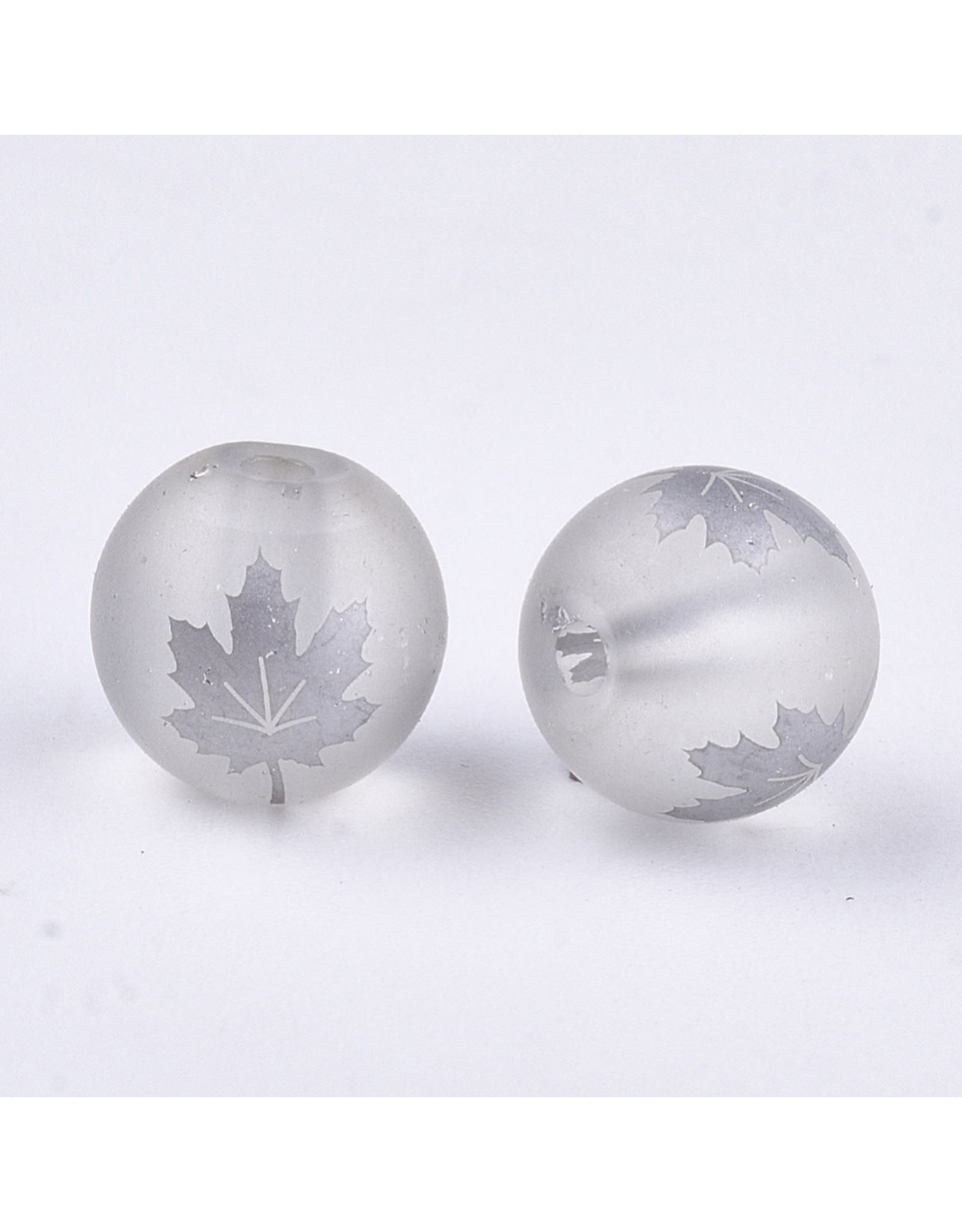 Round 8mm Clear Matte with Silver Maple Leaf x10