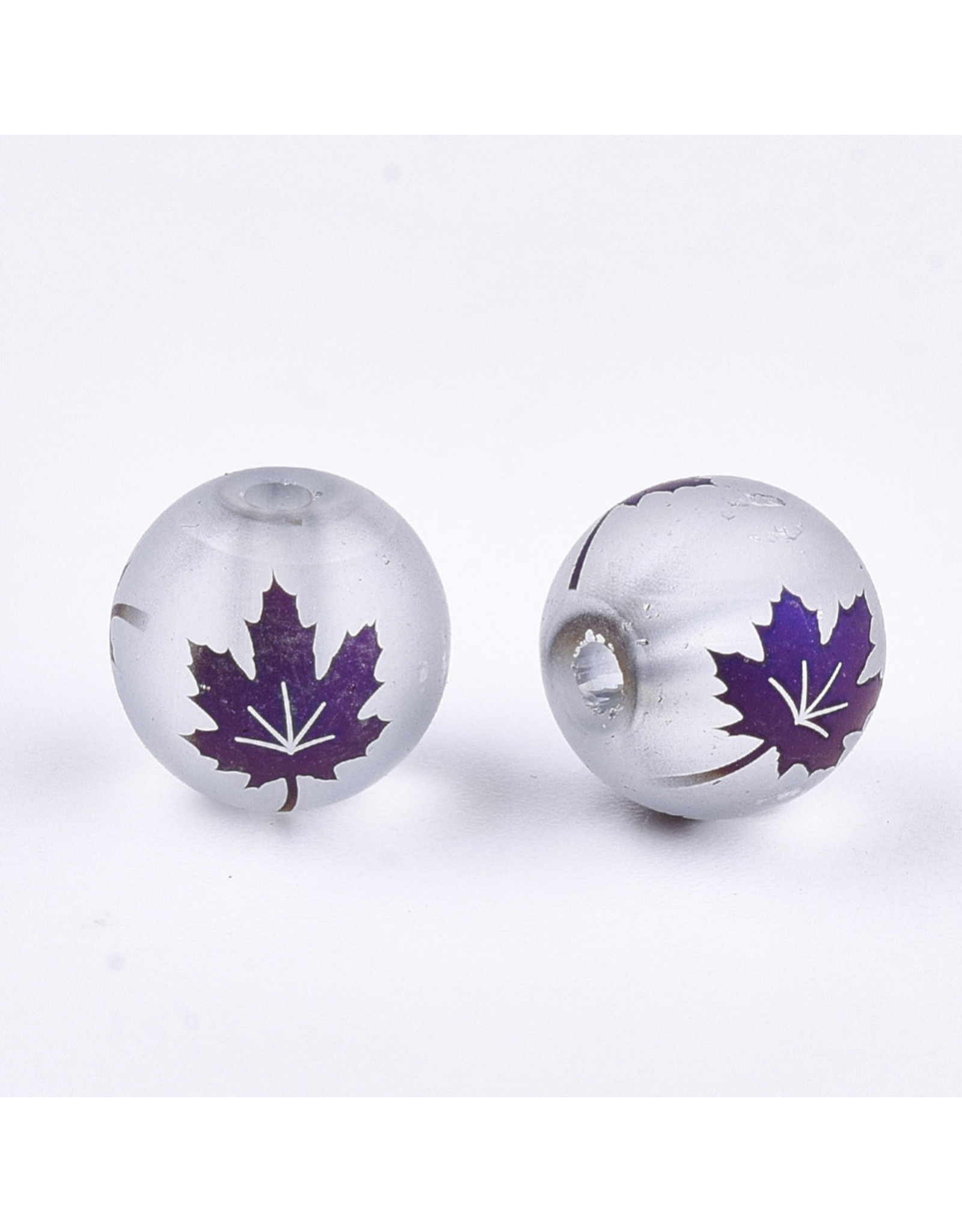 Round 8mm Clear Matte with Purple Maple Leaf x10