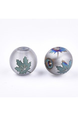 Round 8mm Clear Matte with Blue Green Maple Leaf x10