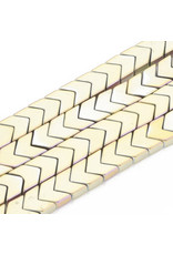 Arrowhead Synthetic Hematite  6x4x2mm Gold Ab Plated Strand