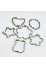 Split Ring Assorted Shape and Size Nickel  x5 Key Ring Random Mix
