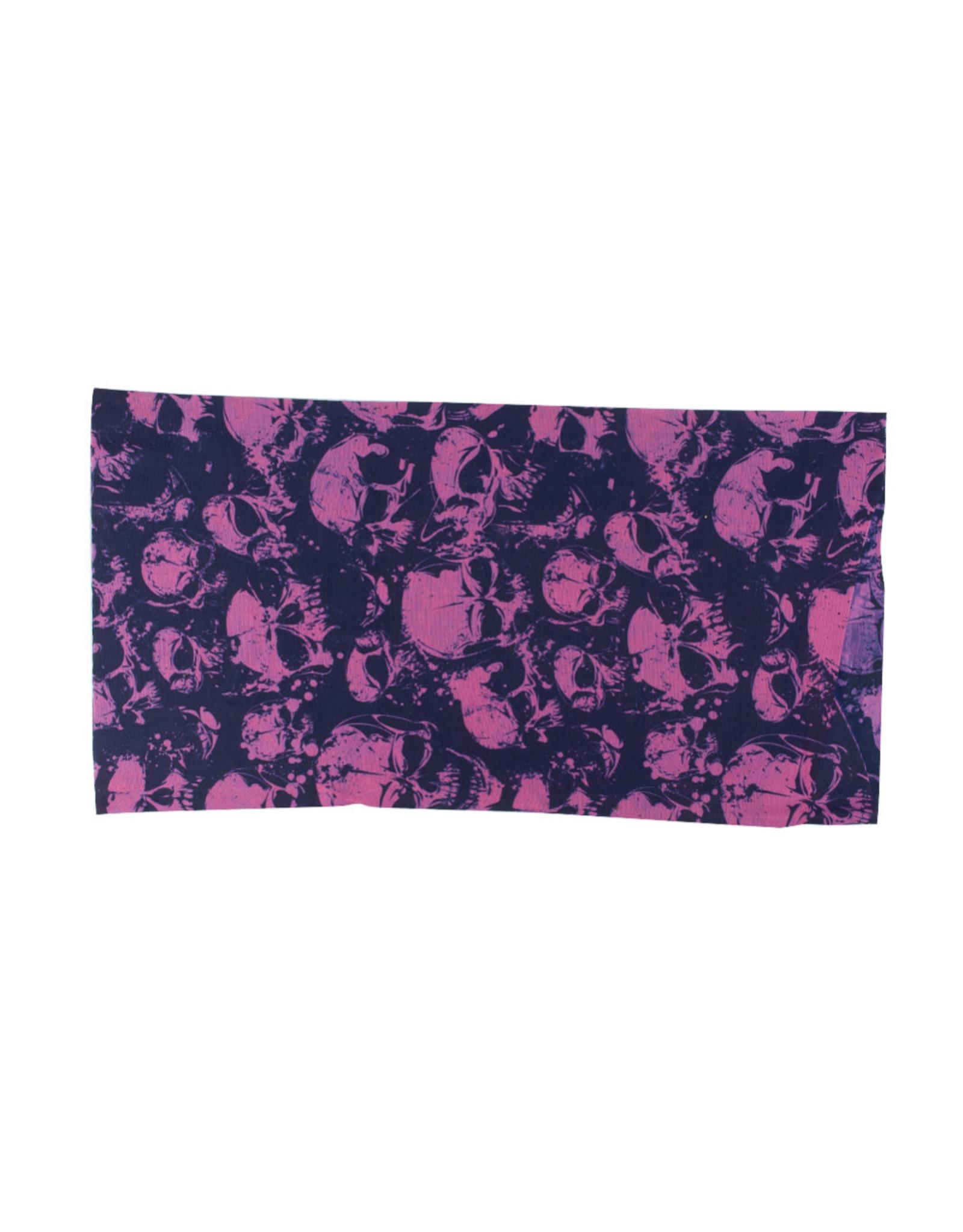 Headband Bandana 24x48cm Purple Skulls