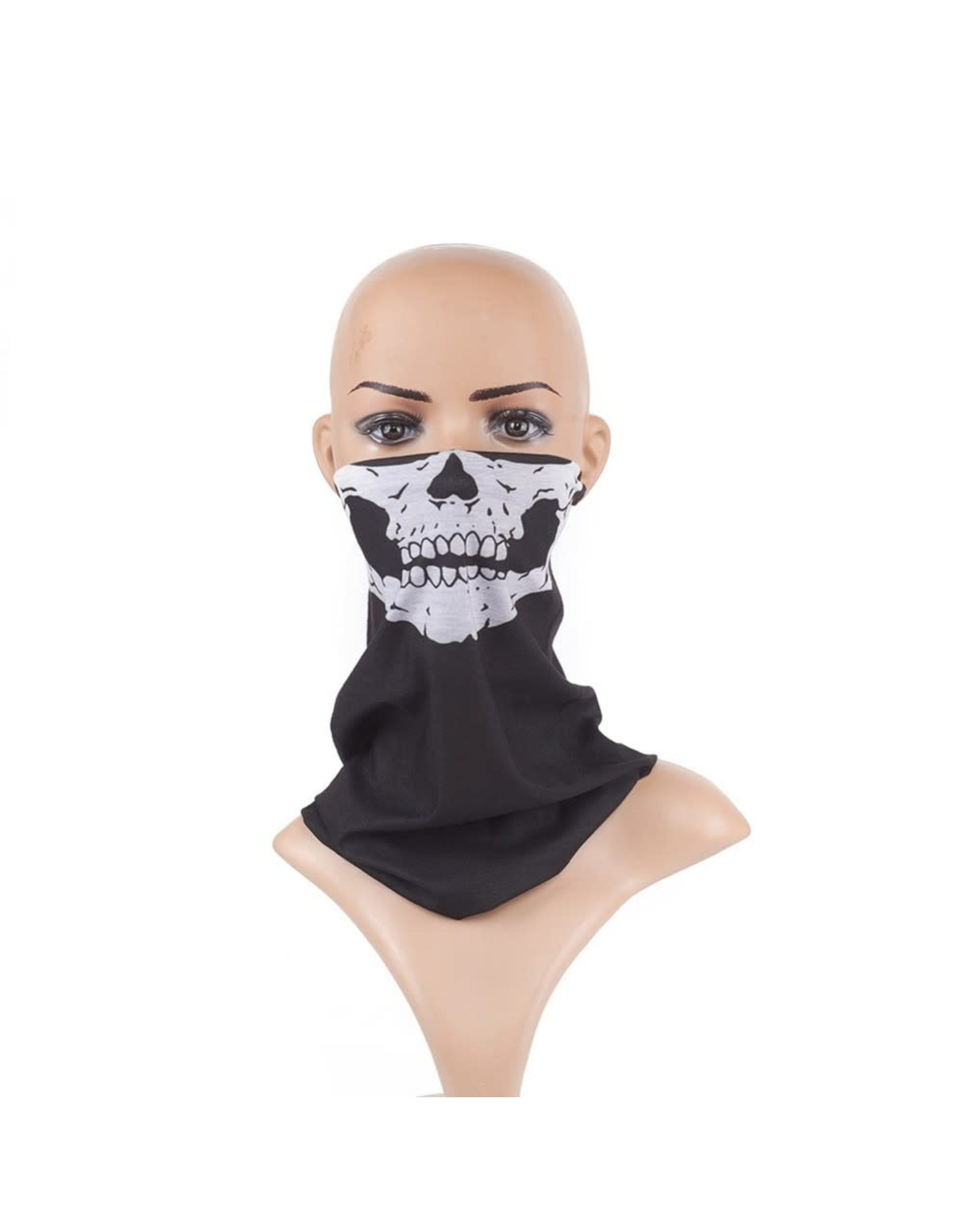 Headband Bandana 24x48cm Black/White Skull Face