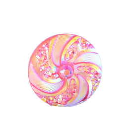 Swirl Round Resin Cabochon 16x3mm  Red Violet/Yellow  x10