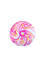Swirl Round Resin Cabochon 16x3mm  Magenta Pink  x10