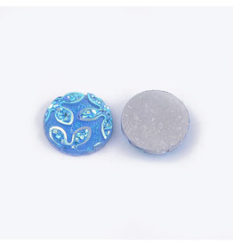 Flower Round Resin Cabochon 12x3mm Blue x10