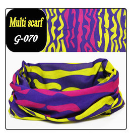 Headband Bandana 24x48cm Blue Pink Yellow Design