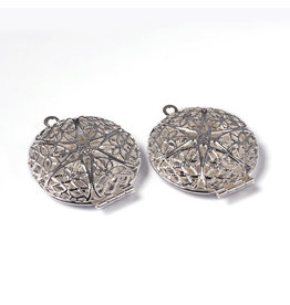 Round Filigree Locket  32x27mm Silver x5