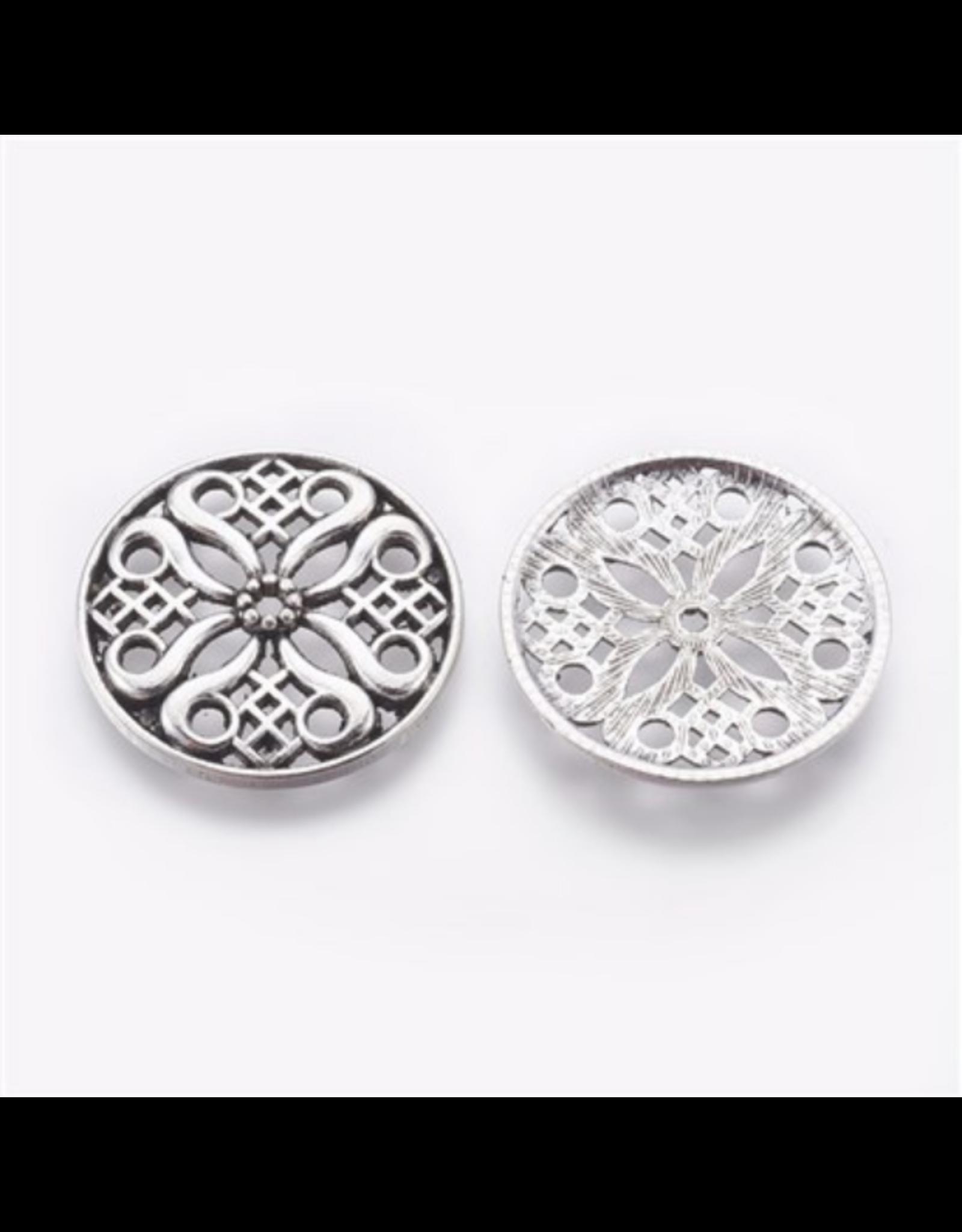 Circle Pendant  Filigree  35mm Antique Silver x5  NF