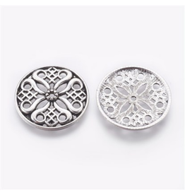 Circle Pendant  Filigree  35mm Antique Silver x5  NF