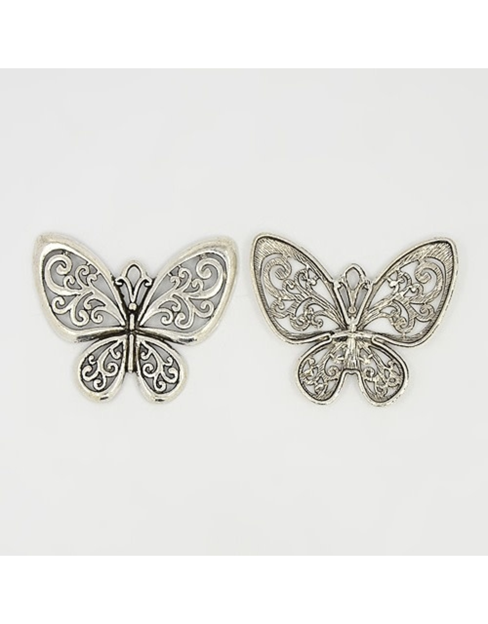 Butterfly Filgree Antique Silver 57x50mm  x10  NF
