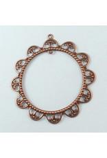 Round Filigree Pendant Antique Copper 60mm x10
