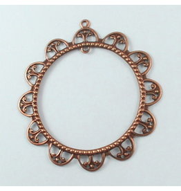 Round Filigree Pendant Antique Copper 60mm x10
