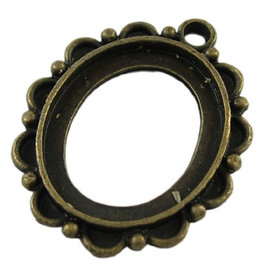Oval Pendant Setting  32.5x27x3mm Antique Brass x6  NF