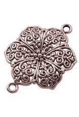 Flower Link 41x37mm Antique Copper x5 NF