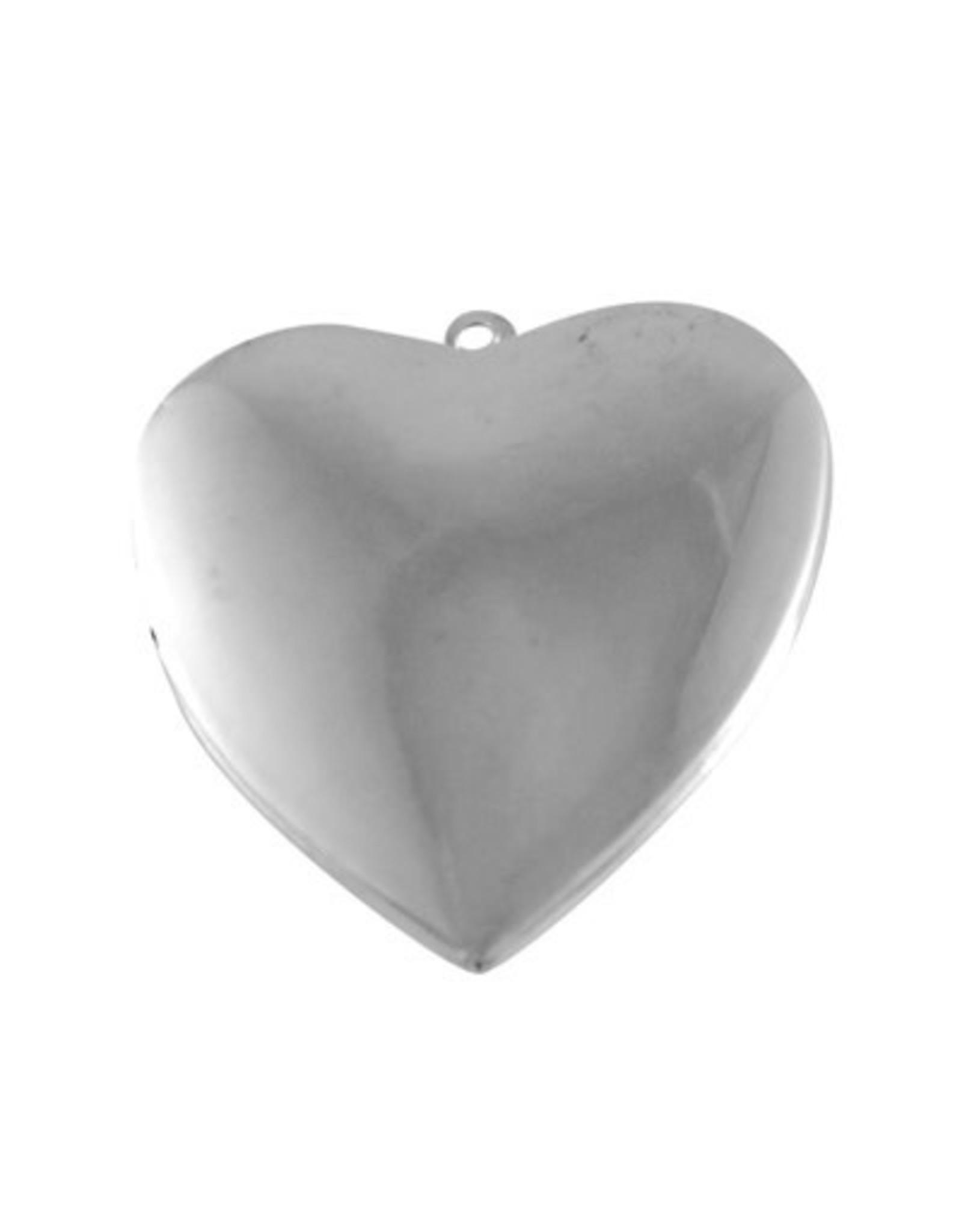 Locket Heart Shape 25x30mm Platinum  x5 NF