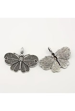 Moth Pendant 32x40mm Anitque Silver x5 NF