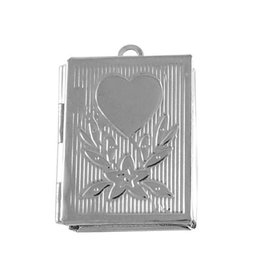 Book Locket Platinum  19x26mm  x5