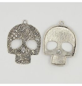 Skull Pendant Antique Silver 50x65mm  x5