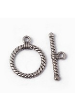 Toggle Clasp Rope 18mm Antique Silver  NF  x10