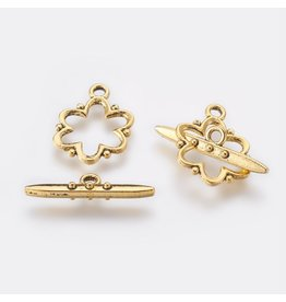 Toggle Clasp Flower 15mm Antique Gold  NF  x5