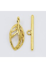 Toggle Clasp 25x11mm Leaf  Gold  NF  x10