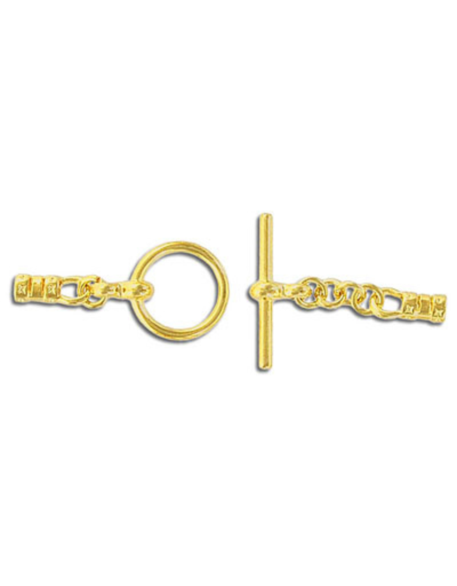 Toggle Clasp 12mm Round with 3mm Crimp Ends Gold  NF  x10