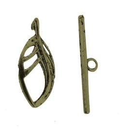 Toggle Clasp 25x11mm Leaf  Antique Brass  NF  x10