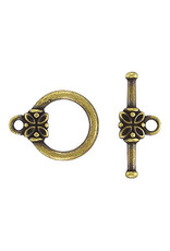 Toggle Clasp Round 14mm Antique Brass  NF  x10