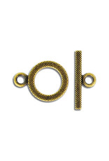 Toggle Clasp Round 16mm Antique Brass  NF  x5