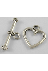 Toggle Clasp Heart 12mm Antique Silver  NF  x10