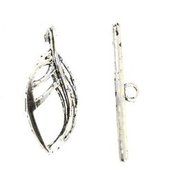 Toggle Clasp 25x11mm Leaf  Antique Silver  NF  x10