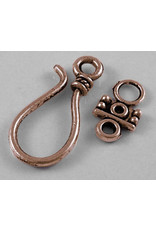 Hook & Eye Clasp  25x12mm Antique Copper NF  x10