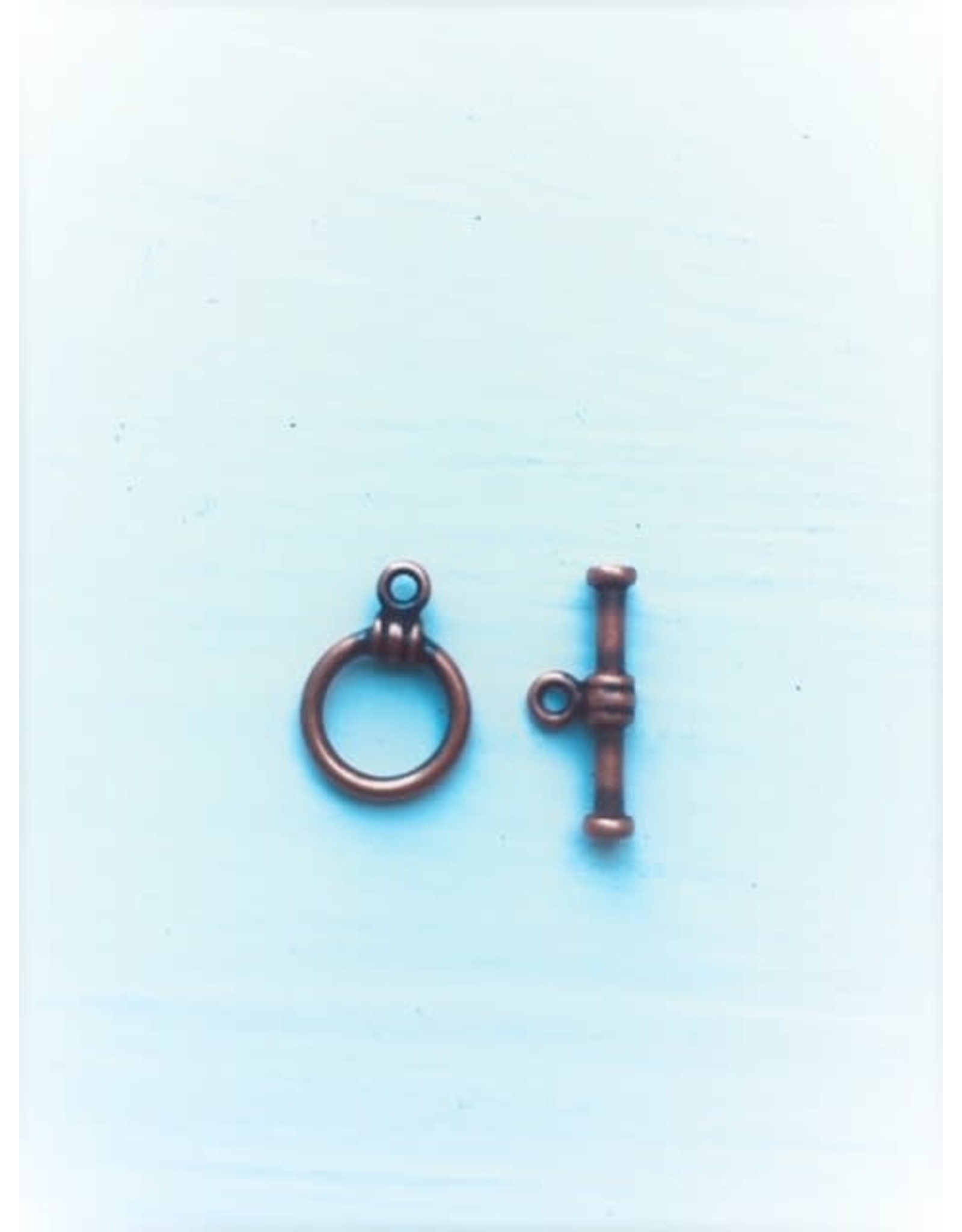 Toggle Clasp Round 10mm Antique Copper  NF  x10