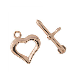 Toggle Clasp Heart 18mm Rose Gold  NF  x10