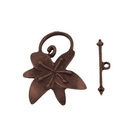 Toggle Clasp Flower 20mm Antique Copper  NF  x5