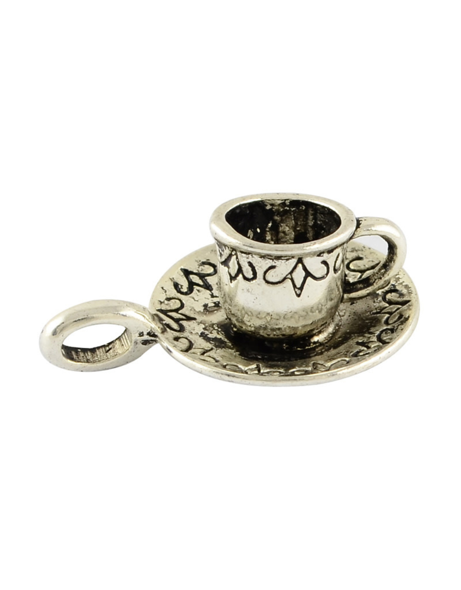 Tea Cup Charm 26x18x10mm Antique Silver  x5