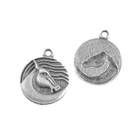 Horse Charm 20mm Antique Silver x5