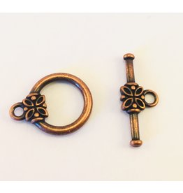 Toggle Clasp Round 14mm Antique Copper  NF  x10