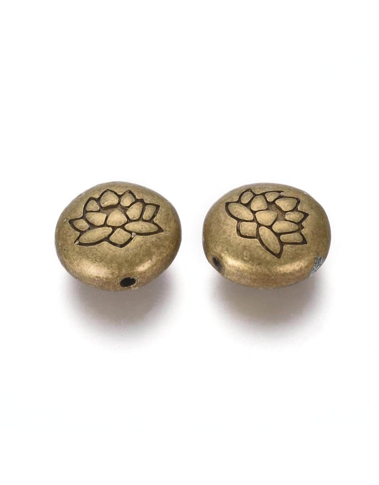 Lotus Bead Antique Brass 14x6.5mm  x5