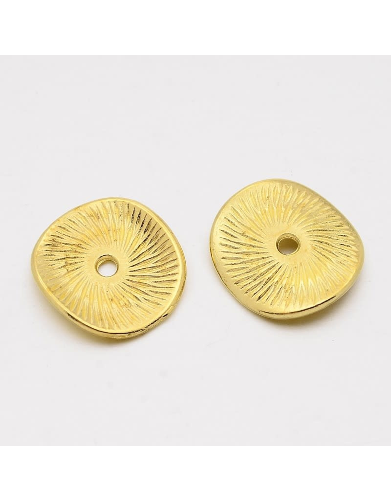 Wavy Spacer Bead  Antique Gold 15mm  x25