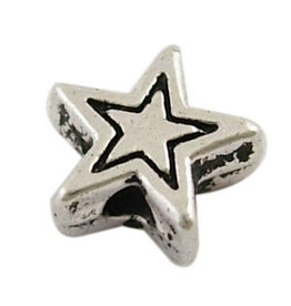 Star Bead Antique Silver 6mm  x25